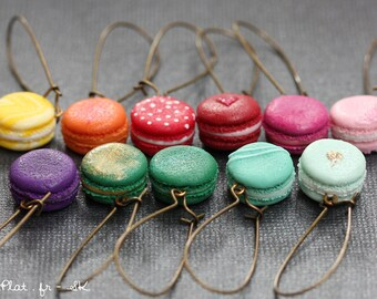 Macaron Earrings with Custom Colors, Parisian Miniature Pastries