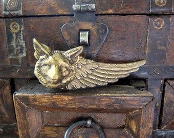 Fox Tie Bar, Wing Tie Clip, Woodland Animal, Fox Head, Men's Steampunk, Antique Brass, Woodland Wedding, ORIGINAL DESIGNER  Days Long Gone