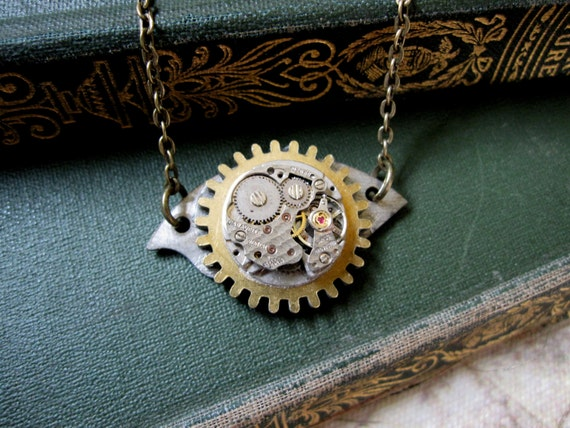 Cosplay Necklace, Gear Necklace, Watch Movement, Upcycled, Edwardian, Cosplay, One of a Kind, OOAK