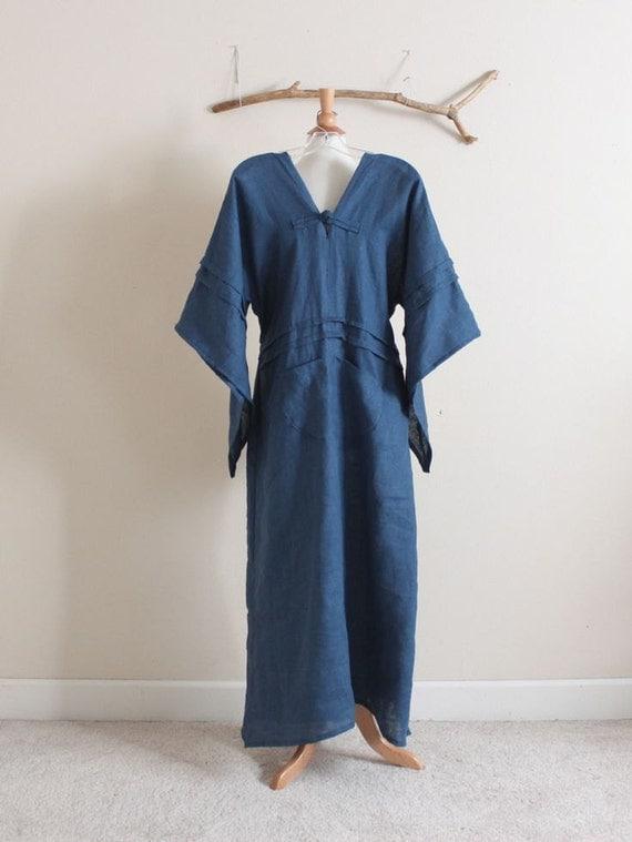 handmade to measure swallow pleat tucks linen dress short sleeves
