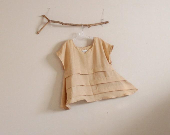 light weight linen pleated umbrella shape top / made to order / summer linen top / plus size linen top / petite linen top / women clothing