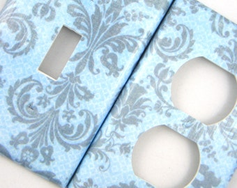 Switchplate Light Switch Cover Outlet Cover -- Blue and Grey Fancy