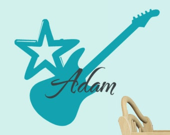 Guitar Monogram Name Vinyl Wall Decal Words, Rock Star Decor, Musical decorations, Kids room, Baby Nursery Wall Decals, Kids Playroom decor