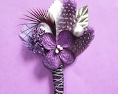 Set of 14 Purple and Silver Wedding Boutonnieres