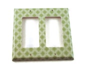 Double Rocker Light Switch Cover   Wall Decor Double Switch Plate in  Sage Diamonds  (107DR)