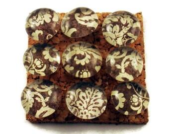 Push Pins  Thumb Tacks Bulletin Board Pins  Brown and Cream Damask  (P104)