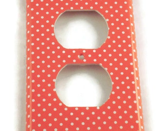 Light Switch Plate  Light Switch Cover Wall Decor Kitchen Switchplate in  Tangerine Dot (106O)
