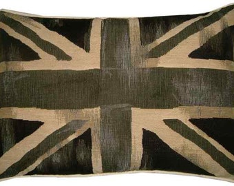 Vintage Black Union Jack British Flag Tapestry Cushion Pillow Cover