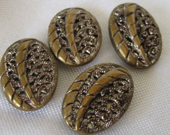 Set of 4 VINTAGE Leaf Metal Twinkle Flower BUTTONS