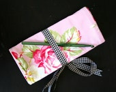 Crochet Hook Holder Crocheting Accessories Roll Up Ribbon Tie Closure Pink Roses