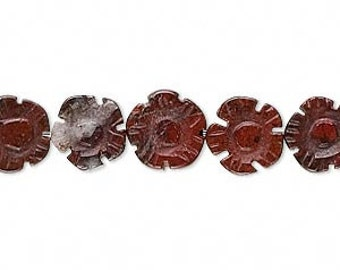 6 Natural Brecciated Jasper Carved Flower Beads, 9-10mm, Mohs hardness 6 1/2 to 7.