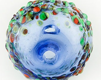 One Handmade Lampworked Hollow Marble Bead in Borosilicate Glass with Confetti Frits.
