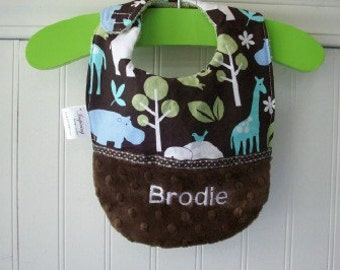 Baby Bib- Personalized-Boy- Bib-Zoo-Animals-Brown-Blue-MInky Dot-Savvy Baby Goodies-Terry-Feeding-Modern-Cotton-Gifts