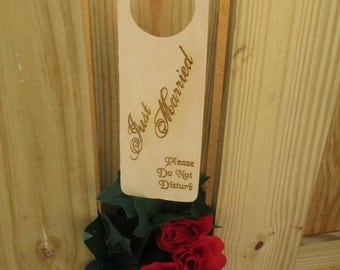 Personalized, Engraved Just Married, Newlywed, Do Not Disturb Door Hangers - Item 1593
