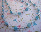 READY TO SHIP - Light Baby Blue Beaded Necklace - Extra Long Length - Two Necklaces in One - Bella Mia Beads