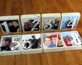 PERSONALIZED for WEDDING Larger Photo Letter Blocks- 8 blocks- two sided