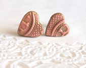 Gold Lace Pink Heart Post Earrings