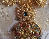 Lilygrace Fabulous Byzantium Necklace with Vintage Flower Brooch, Jade, Garnets, Blue Topaz and Peridot