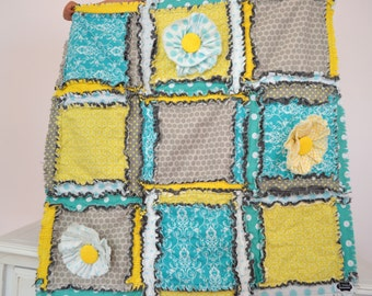 Baby RAG QUILT, Small Crib Blanket with Ruffle Flowers in Gray, Turquoise, Yellow - Baby Girl Mini Crib Quilt - Mini Crib Bedding