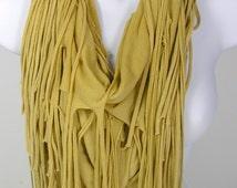 Cotton T-Shirt Scarves Fringed Scarves Camel Fringe Scarves Western Scarves Southwestern Scarves Beige T-Shirt Scarf Beige Cotton Scarves