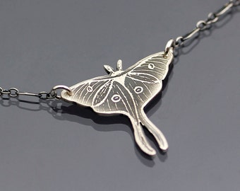 Etched Silver Luna Moth Necklace