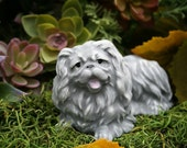 Pekingese Angel Dog Statue - Dog Memorial Figurine - Concrete Art