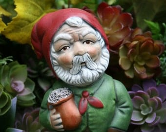 LARGE Beer Drinking Gnome - German Style Rude Garden Gnome With Frothy Beer Mug