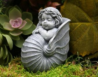 Baby Mermaid Garden Sculpture - Concrete Outdoor Decor
