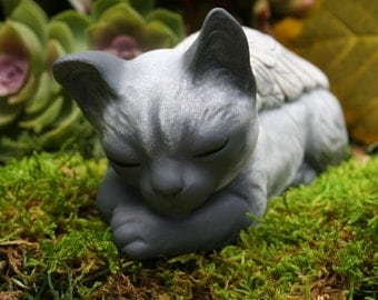 Cat Angel - Siamese Cat Statue - Pet Memorial - Cat Sculpture - Concrete Garden Art