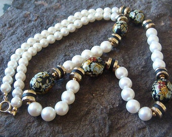 Necklace, Vintage Faux Pearl and Black Floral Beaded Necklace