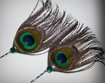 Peacock, peacock wedding, cruelty free, boho, boho chic, gossip girl, peacock bobby pin, Rhinestone peacock clip, Wedding,peacock wedding