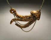 Gold Jellyfish Necklace - Wearable Art Sculpture