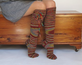 Knee High Socks Autumn by the Lake Merino Wool with Ties hand knit