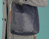 Blue two strap recycled leather handbag