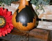 Primitive Thanksgiving Turkey Gobbler Gourd on Rusty Spring