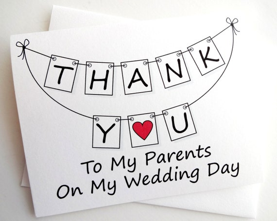 Thank Letter To Parents For Wedding: Parents Wedding Card Wedding Thank You For Parents Card