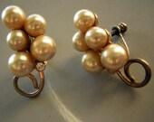 Sterling Silver Pearl Cluster Earrings Vintage 50s Screwbacks Marked
