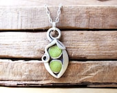 Two peas in a pod necklace - concrete, silver - mothers day jewelry handmade