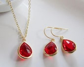 Red Earring Necklace Set, Gold, Christmas Wedding, Jewelry Set, Red Glass Crystal, Bridesmaid Gift - Bridal Gift Set