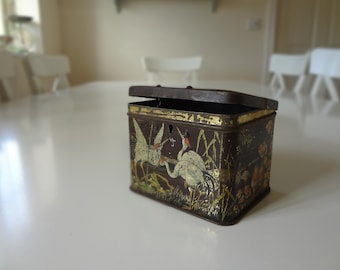 Vintage Tin Money Box Bank Carr & Co Biscuits Made in England Antique Asian Oriental Bird Design - EnglishPreserves