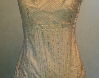 Vintage 40s 50s Peach Jacquard Open Bottom Corset Cotton Girdle Garters Trixy Boned Summer Foundation