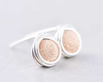 Rose Gold Studs, Glitter Post Earrings, Pink Metallic Posts, Bridesmaid Gift