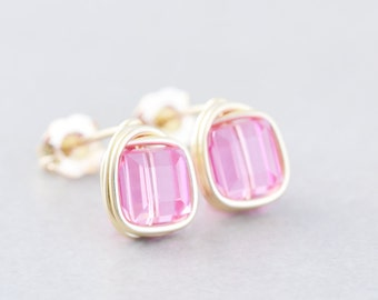 Pink Cube Studs, Pink Gold Posts, Square Post Earrings, Handmade