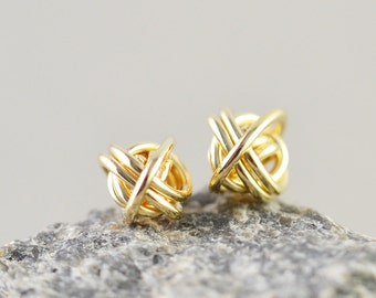 Gold Knot Earrings, Knotted Jewelry, 7mm Metallic Studs, Love Knots, Bridesmaid Gift, Tie The Knot