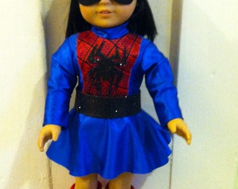 """Super Hero Type costume for 18"""" doll - possibly Spider Girl parody"""