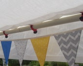 Ready to ship blue yellow gray fabric flag banner teacher classroom nursery party chevron outdoor bunting  polka dot