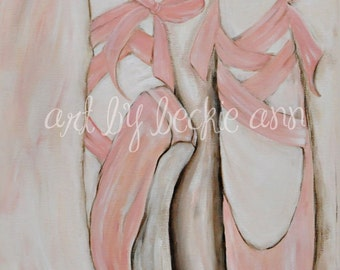 Girls Pink Ballet Pointe Toe Shoes Ballerina Art Stretched Canvas Set of Two 11x14