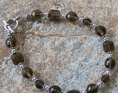 Genuine Smoky Quartz and Sterling Silver Bracelet, Cavalier Creations