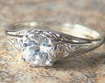 Petite Lab Created White Sapphire Sterling Silver Filigree Ring, Cavalier Creations