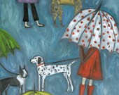 Rainy Day Dogs.  Limited edition print by Vivienne Strauss.